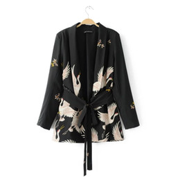 China Fashion Women Red Crowned Crane Printing Kimono Female Jacket Casual Long Sleeve Denim Coat Vintage Outerwear Belt Loose Tops cheap vintage kimono jacket suppliers