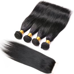 hair weaves closure UK - Kinky Straight 4 Bundles Weaves With Closure Brazilian Human Hair Natural Black Indian Peruvian Malaysian Weave Human Hair Cheap Virgin Hair
