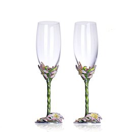 China Enamel Color Champagne Crystal Cup Wedding Gift Goblet Suit Lily Tumbler Color Lily Diamond Alloy Plating Crystal Glass Set supplier wedding crystal cup suppliers