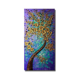 Large Size Art Wall Canvas UK - Large size 100% Hand Painted Abstract Flower Tree Oil Painting Home Decoration Modern Canvas Wall Pictures no Framed Art