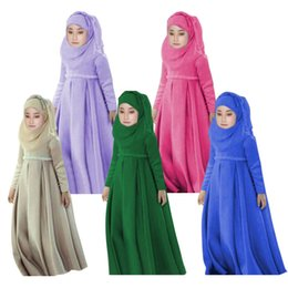 Chinese  2017 Girls Muslim Islamic Nation Dress Long Dress+Kerchief+Bowknot 3 Pieces Solid Muslim Kids Children Clothing 5 Colors Costume Y1892707 manufacturers