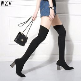 $enCountryForm.capitalKeyWord NZ - Women Sock Boots 2018 New Stretch Fabric Shoes Slip On Over the Knee Slim Boots Women's Thigh High High heels F202