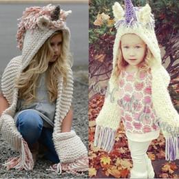 $enCountryForm.capitalKeyWord NZ - Knit Kids Unicorn Hat Knitting Thick Cloak Scarf Cap Children Winter Hats Gloves Mittens Beanie Tassels Hats for Boy Girl Christmas gifts