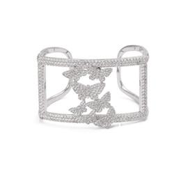 $enCountryForm.capitalKeyWord Australia - XIUMEIYIZU New Jewelry Silver Color Cubic Zirconia Charms Bracelets & Bangles Butterfly Open Cuff Bangle For Women Party Bijoux