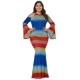 0e798cb211d Plus Size Rainbow Dress UK - Women s New Fashion Rainbow Striped Round  Collar Dress Off Shoulder