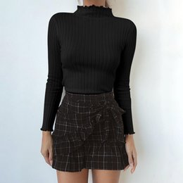 Wholesale Autumn and Winter New Woman Long Sleeve High Collar Bottoming Shirt Tight Slim Knitted Top