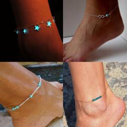 2019 nuevos adornos para el pie playa viento azul estrella de cinco puntas borla noche tobilleras pulseras para mujeres en venta