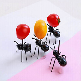 plastic toothpick wholesale Australia - 12pcs set Cute Kitchen Reusable Ant Fruit Fork Plastic Fruit Toothpick Tableware Dessert Cake Snack Forks Design gift
