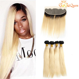Discount 32 34 inch 1b 613 hair - 4x13 Ear to Ear Lace Frontal Closure With Hair Bundles 1b 613 Straight Hair Bundles With Frontal Ombre Hair