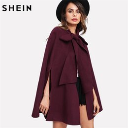 SHEIN EleWoman Fall Coat Korean Fashion Clothing for Womens Burgundy Long  Sleeve Slit Back Tied Front Cape Coat 7f49b664a0b6