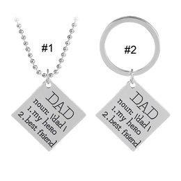 Wholesale Love DAD My Hero Best Friend Necklace Key Chain Letter Father Son Daughter Love Pendants Chain Fashion Jewelry Drop Shipping