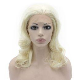 $enCountryForm.capitalKeyWord UK - Blonde Lace Front Wig Long Bob Short Cut Glueless Shoulder Wavy Light Blonde Synthetic Hair Wigs For White Women