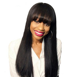 $enCountryForm.capitalKeyWord NZ - Women's bangs style 100% unprocessed remy virgin human hair long natural color natural straight full lace cap wig for lady