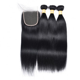 $enCountryForm.capitalKeyWord Australia - Brazilian Straight Virgin Hair Weaves 3 Bundles With Lace Closure Jet Black 1# Remy Human Hair Bundles With Lace Closure