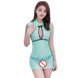 793f46907f73 Free Shipping New sexy lingerie cosplay Lingerie Mint Green mesh Chinese  style Classic Women Sexy Perspective Lace bag hip Cheongsam Set Uni