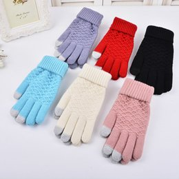 acrylic knitted mittens NZ - Fall Winter Men Women Warm Jacquard Grid Pattern Female Stretch Knit Gloves Girl Solid Magic Accessories Wool Gloves Mittens A35 D18110806