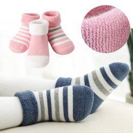 5b0ecde4e Newborn Baby Boys Girls Outdoor warm socks Infant Anti-slip cotton socks  stripe Children Winter thick booties Socks kids Gift