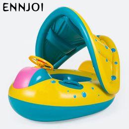 Venta al por mayor de Niños azul barco anillo sentado inflado y engrosado con sombrilla bebé natación anillos