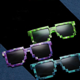 Vintage Adult Novelty Canada - Mosaic Sun Glasses Vintage Square Novelty Pixel Sunglasses Kids and Adults Trendy Glasses 4 Colors 300pcs 1806