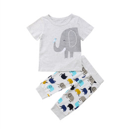 Discount kids elephant top - Newborn Kids Baby Boys Girls Clothes Cartoon Elephant Tops T-shirt Long Pants Outfits Set 0-4Y