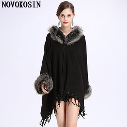 $enCountryForm.capitalKeyWord UK - 2018 Winter Capes Warm Thick Long Sleeves Tassel Coat Women Casual Loose Poncho Faux Fur Plus Size Pullover With Faux Fur Hat