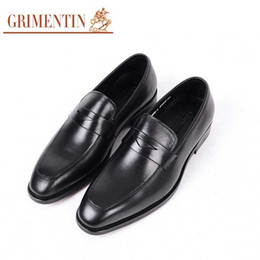 $enCountryForm.capitalKeyWord Australia - GRIMENTIN Hot sale formal men dress shoes genuine leather black brown-red slip on men loafers Italian fashion business wedding mens shoes WF