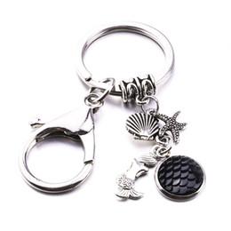 Coin Scale NZ - Fashion Handmade Lobster Clasp Mermaid Shell Starfish Pendant Key Ring 13 Colour Diameter 12 mm Mermaid Scales Pendant Key Ring