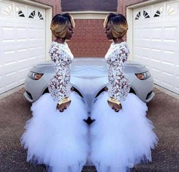 $enCountryForm.capitalKeyWord NZ - 2018 African White Mermaid Lace Prom Dresses for Black Girls Long Sleeves Ruffles Tulle Floor Length Plus Size Evening Prom Gowns Vestidos