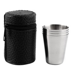 China 4 PC 30ML 70ML 180ML Stainless Steel Camping Cup Mug Outdoor Camping Hiking Folding Portable Tea Coffee Beer Cup With Black Bag suppliers