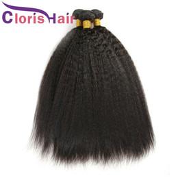 Discount cheap peruvian straight hair 3pcs - Unprocessed Malaysian Virgin Kinky Straight Hair Bundles Coarse Yaki Human Hair Extensions 3pcs lot Cheap Italian Yaki K