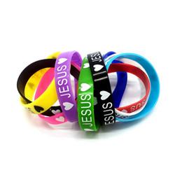 Neues Silikon-Armband Elastische Gummi-Armbänder Männer Damenschmuck-Mode-Accessoires Mix-Farben zufällig herzförmige Liebe Jesus Geschenke im Angebot