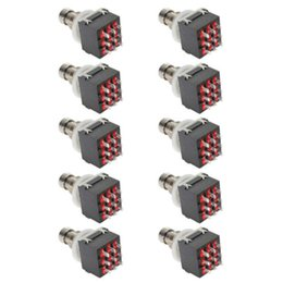 Box Effects Pedal Australia - 10Pcs 9-pin 3PDT Guitar Effects Pedal Box Stomp Foot Metal Switch True Bypass