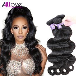 Discount cheap 18 human hair extensions - Free Shipping Allove Best 10A Body Wave 3 Bundles Brazilian Hair Peruvian Body Wave Cheap Malaysian Human Hair Extension