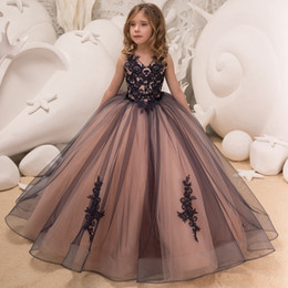 images hot dresses 2019 - New Hot Girls Tulle Sleeveless Double V-neck Lace Appliques Ball Gowns Flower Girl Dresses Princess Birthday Party Weddi