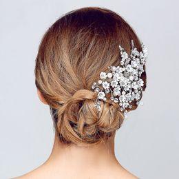 808823ab0 wedding SLBRIDAL Handmade Clear Crystal And Pearls Flower Wedding Clip  Barrette Bridal Headpiece Hair accessories Bridesmaids Women