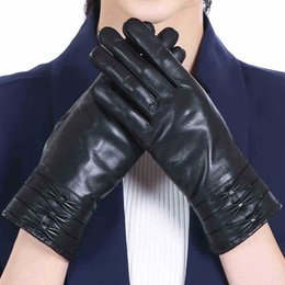 e41705607c8f9 2018 Autumn Winter Women Gloves Bow Wrist Slim Ladies Genuine Leather Gloves  Plus Velvet Thick Warm Driving Female AGB683