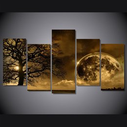 Discount tree life painting framed - 5 Pcs Set Earth Night Tree Celestial Poster Printed Wall Art Pictures Canvas Paintings For Living Room Home Decor