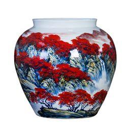 Paintings Vases UK - Jingdezhen Master Hand Painted Porcelain Flower Vase For Home Office Rest Room Decor a riot of colour Ceramic Vase