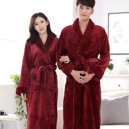 Robe Warmer Canada - Mix and Match Welcome Free shipping ACI-236 Hot Sale Lovers Silk Flannel Warm Long Bathrobe Women Dressing Gown Bride Kimono Bath Robe Femme