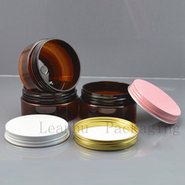 $enCountryForm.capitalKeyWord Australia - Brown Plastic Cream Jar With Gold Pink White Aluminum Cap,80G Empty Refillable Makeup Face Cream,Facial Mask Packing Containers