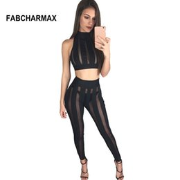 87cfff2bd948cb FABCHARMAX new arrival striped mesh patchwork black two piece sets for  women club sleeveless crop top nightclub body sexy outfit