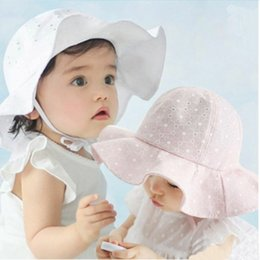 White baby sun hat online shopping - New sun cap floral print summer outdoor baby girl pink white beach bucket hats baby fashion cotton bucket hat
