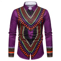 mens dress clothing UK - African Dashiki Social Shirt Men 2018 Brand New Traditional Print Long Sleeve Mens Dress Shirts Africa Clothes Chemise Homme 3XL