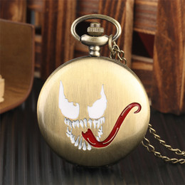 pocket pc new Australia - 1 Pcs Relogio De Bolso Gold Color Evil Spirits Tongue Design Quartz Fob Chain Pocket Watch For Women Man