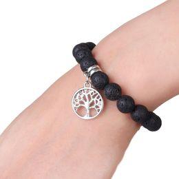 Reiki Healing Wholesalers Australia - 7 Chakra Pendant Bracelet Womens Reiki Healing Meditation Natural Crystal Stone Stretch Bracelet with Lotus Yoga Tree OM Symbol G803S F