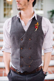 Wholesale casual waistcoat double breast for sale - Group buy 2019 Cheap Groom Vests Farm Wedding Wool England Style Vests Custom Made Slim Fit Mens Suit Vest Prom Wedding Waistcoat Double Breasted