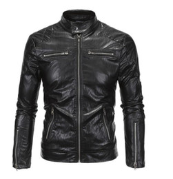 Water Proof Coatings Australia - New Men's fashion Motorcycle Leather Jacket Men's PU Leather Stand Collar Clothing Leather Jacket Water Proof Coat
