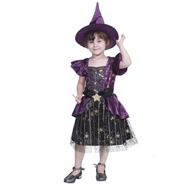 movie star party decorations NZ - Cute Children Witch Cosplay Costumes Star Stripe Decoration Evil Witch Hat Halloween Carnival Holiday Costumes Party Dress Love Live Cosplay