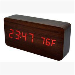 Square electronic online shopping - Led Night Lights Alarm Clock Despertador Temperature Sounds Control Display Electronic Desktop Digital Table Originality Wood Clocks zj jj