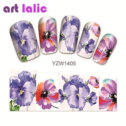 $enCountryForm.capitalKeyWord NZ - 1 sheet Water Transfer Nail Art Sticker Decal Purple Azalea 3D Print Manicure Tips DIY Nail Foils Decorations 1405